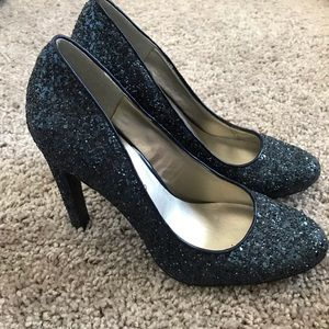The Limited Navy Glitter Heels